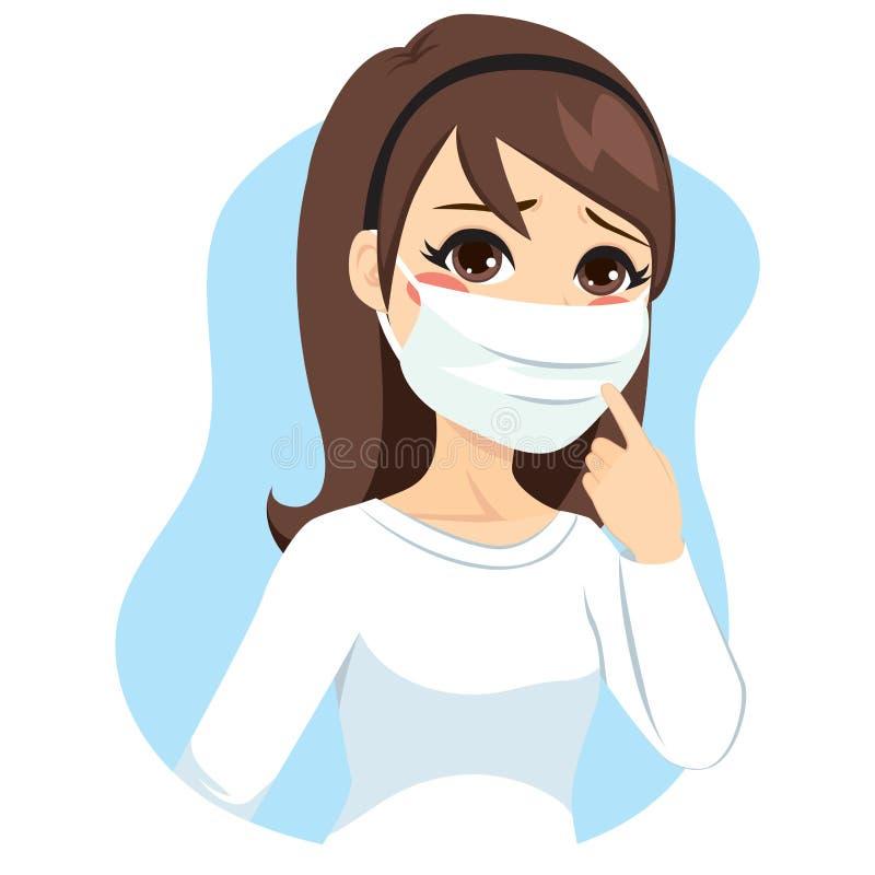 Máscara médica da mulher ilustração do vetor