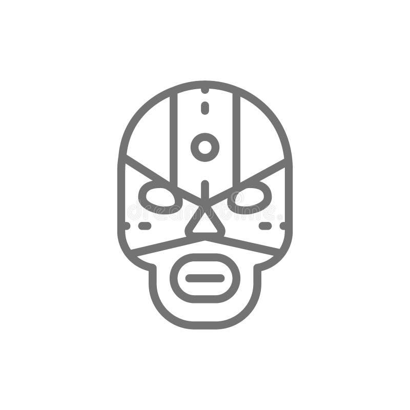 Máscara mexicana del combatiente, línea icono del luchador ilustración del vector