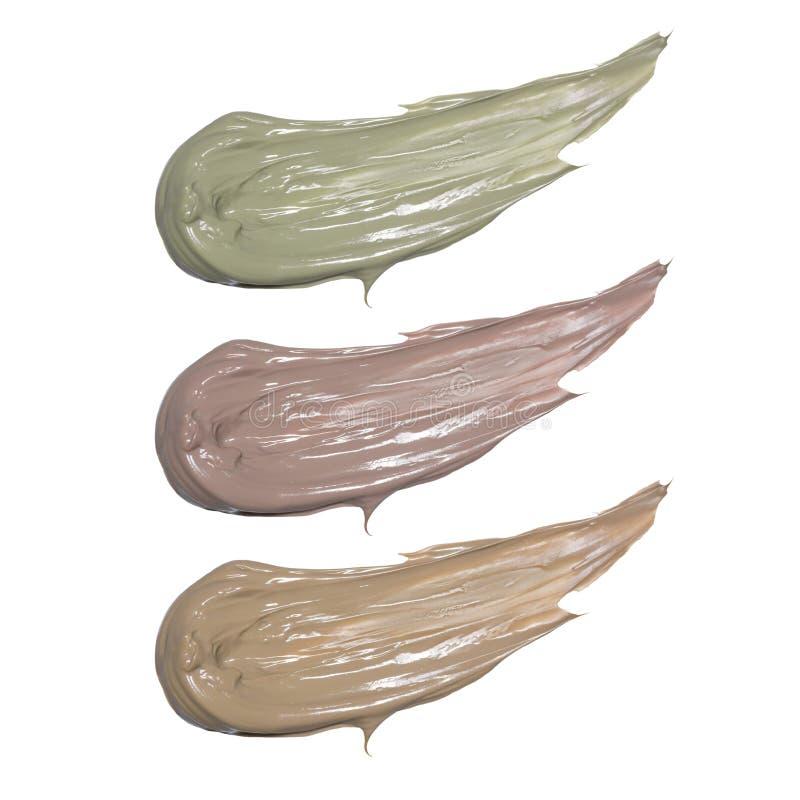 Máscara natural de la arcilla aislada en blanco Muestra del producto de maquillaje fotos de archivo