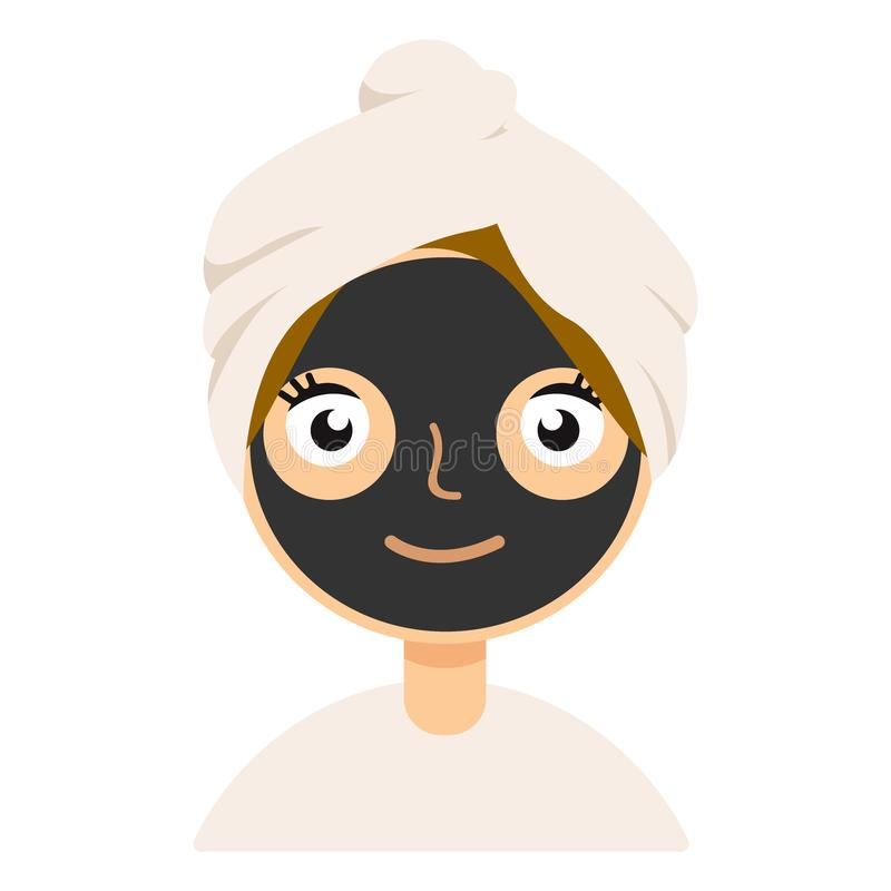 Máscara negra de la arcilla en el icono plano del color de la cara de la muchacha para el web y el diseño móvil libre illustration