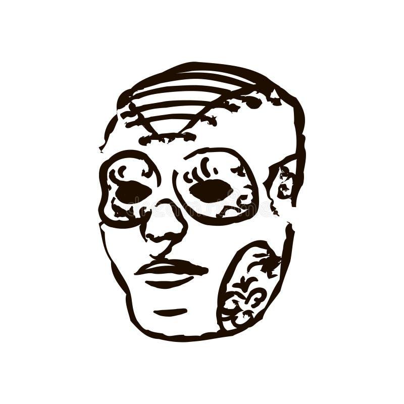 Máscara negra exhausta del festival de Carnaval del color de la mano del vector en el fondo blanco libre illustration