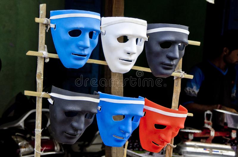 Máscara plástica colorida del concepto del teatro imagenes de archivo