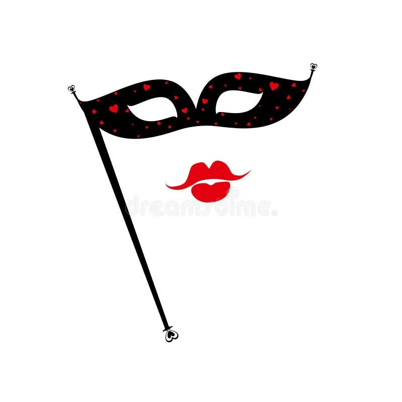 Máscara preta do carnaval com corações pequenos e os bordos vermelhos ilustração royalty free