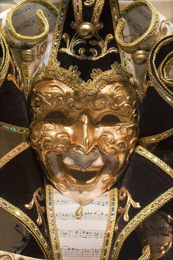 Máscara preta do ouro de Veneza imagem de stock royalty free