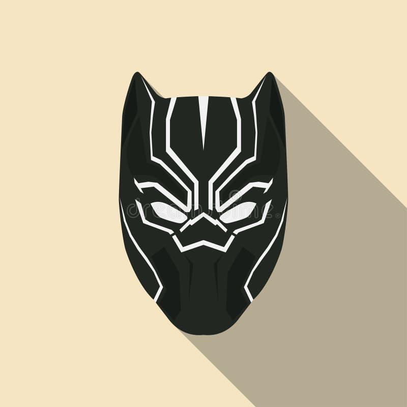 Máscara preta do super-herói em um projeto liso Ilustração do vetor ilustração stock