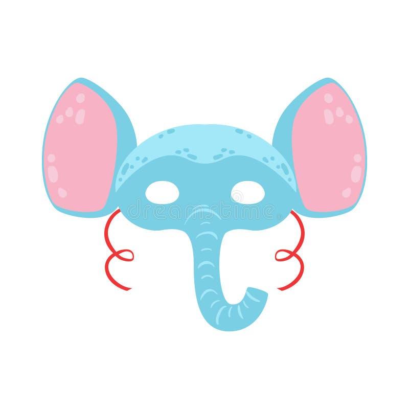 Máscara principal animal do elefante, elemento do traje do disfarce do carnaval das crianças ilustração do vetor