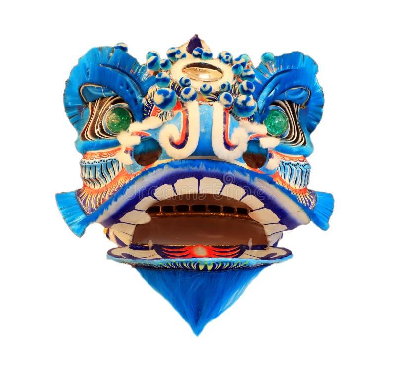 Máscara principal china de la danza de león aislada en el fondo blanco, estilo chino, azul imagen de archivo libre de regalías