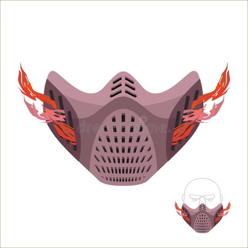 Máscara protectora de los deportes Máscara o maniaco asustadiza del monstruo con el fuego stock de ilustración