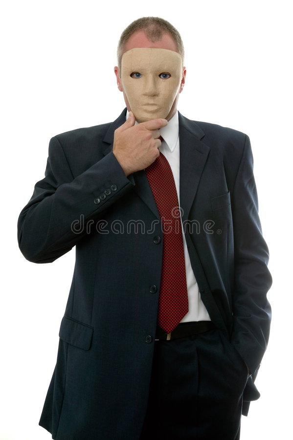 Máscara protectora do homem de negócios foto de stock royalty free