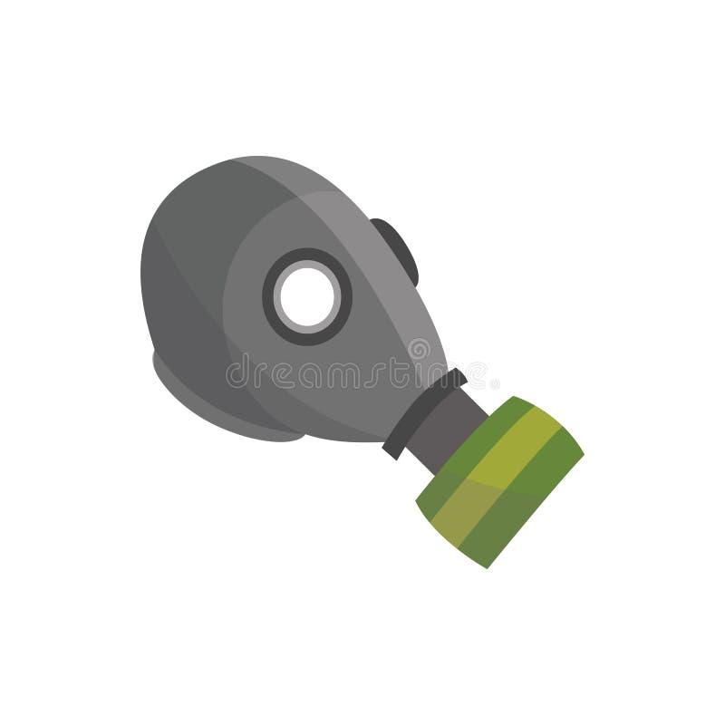 Máscara protectora para las sustancias químicas tóxicas, casco gris verde del traje de la seguridad para la protección de la cont ilustración del vector