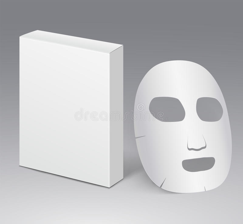 Máscara protetora cosmética com pacote branco vazio ilustração stock