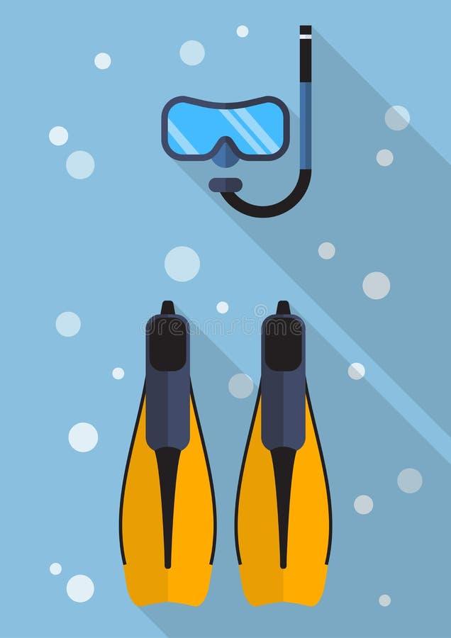 Máscara que se zambulle con el tubo respirador y el icono plano de las aletas que nada stock de ilustración