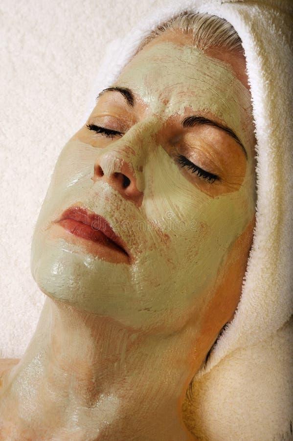 Máscara sênior do Facial de Skincare da saúde e da beleza fotos de stock royalty free