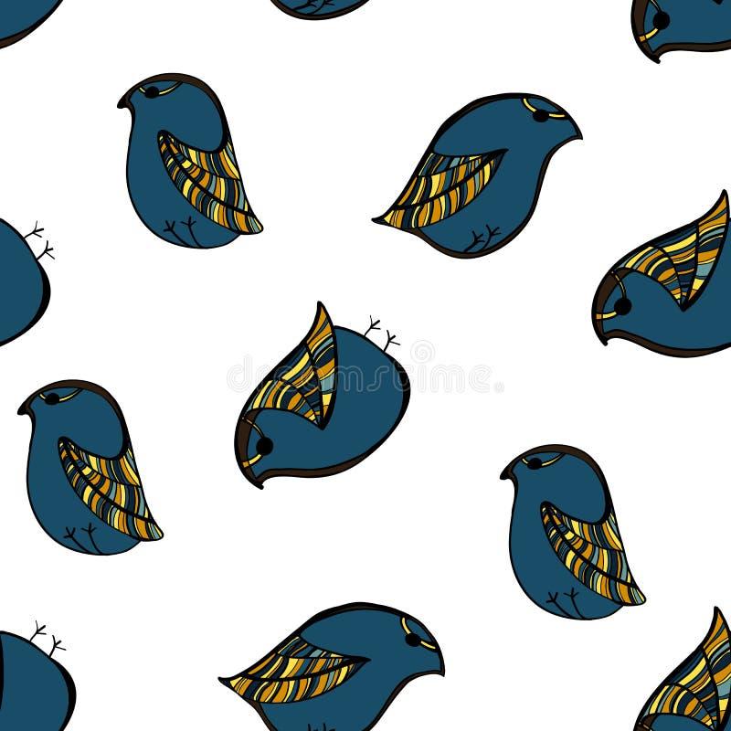 Máscara sem emenda do grampeamento do teste padrão do pássaro ilustração stock