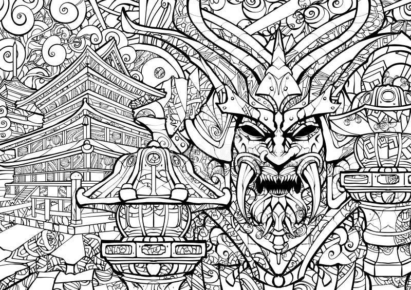 Máscara siniestra del samurai ilustración del vector