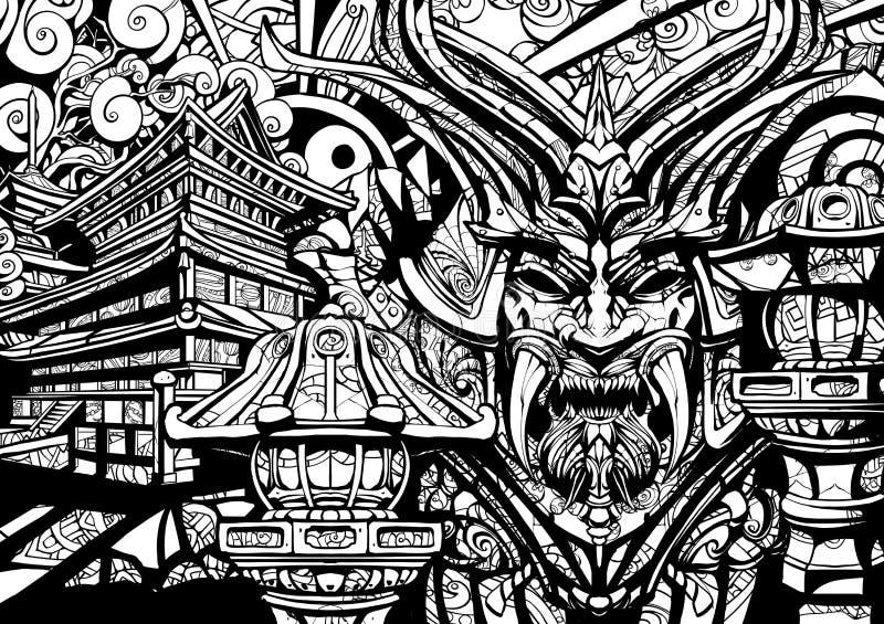 Máscara siniestra del samurai con los colmillos libre illustration