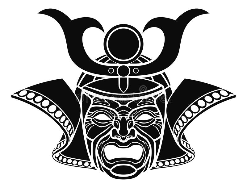 Máscara temível do samurai ilustração stock