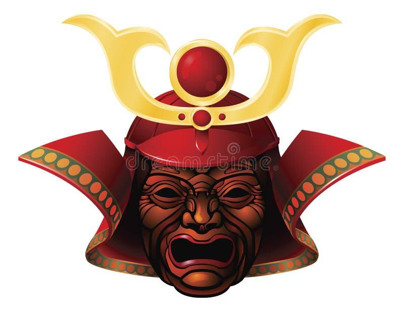 Máscara temible del samurai ilustración del vector