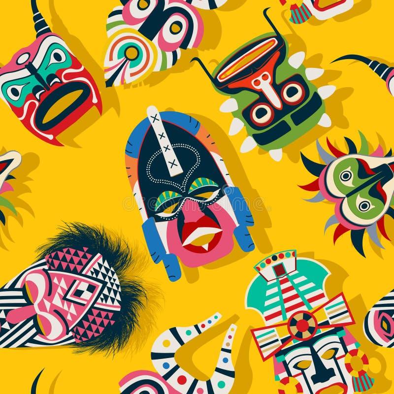 Máscara tribal étnica ilustración del vector