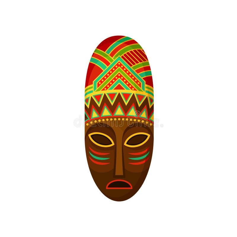 Máscara tribal étnica africana, símbolo auténtico de África con el ejemplo étnico del vector del ornamento en un fondo blanco stock de ilustración