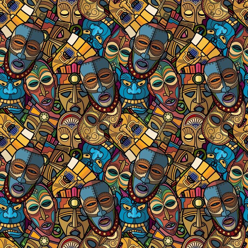 Máscara tribal del vudú africano del arte y tótem suramericano de la cría del inca libre illustration