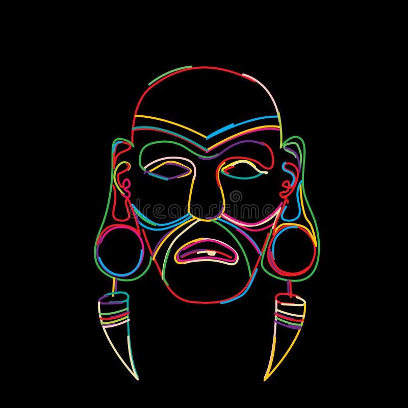 Máscara tribal estilizado ilustração royalty free