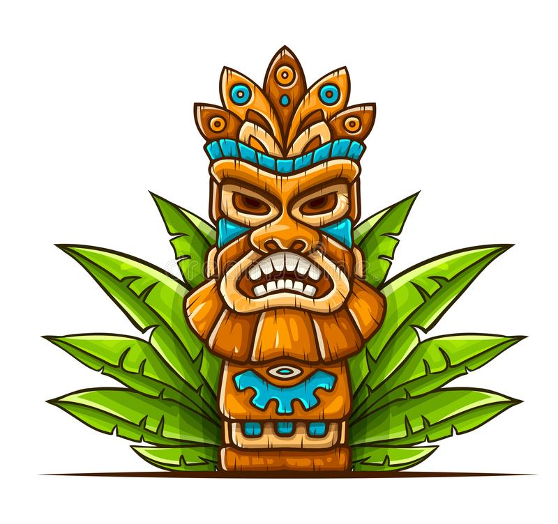 Máscara tribal hawaiana tradicional de Tiki libre illustration