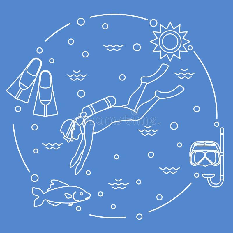 Máscara, tubo de respiração, aletas, sol, peixe, mergulhador de mergulhador ilustração do vetor