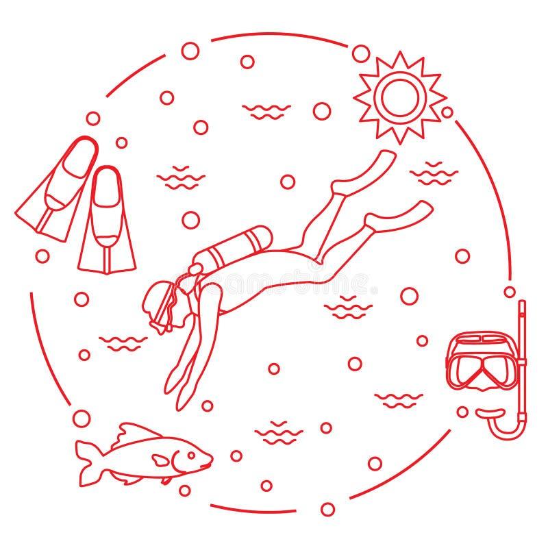 Máscara, tubo de respiração, aletas, sol, peixe, mergulhador de mergulhador ilustração stock