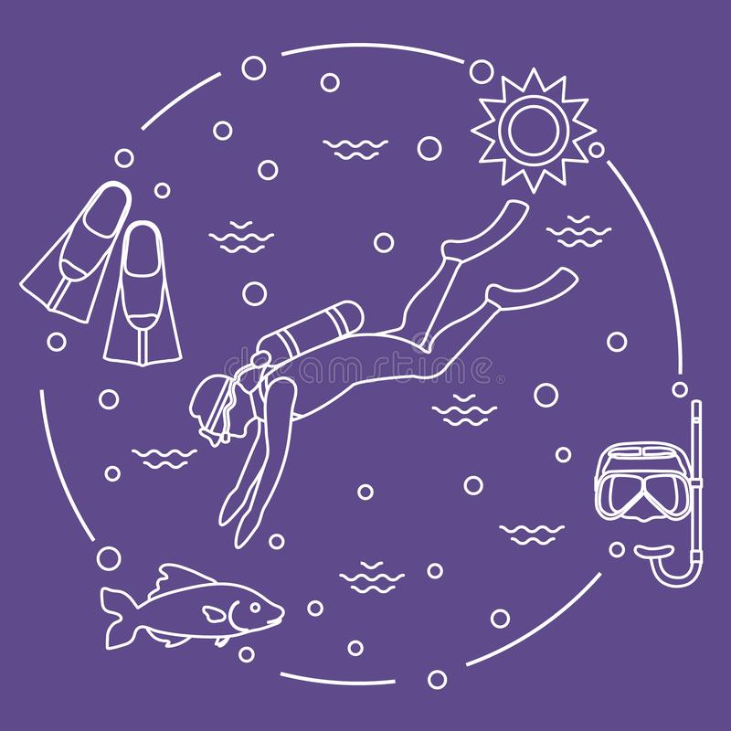 Máscara, tubo de respiração, aletas, sol, peixe, mergulhador de mergulhador ilustração royalty free