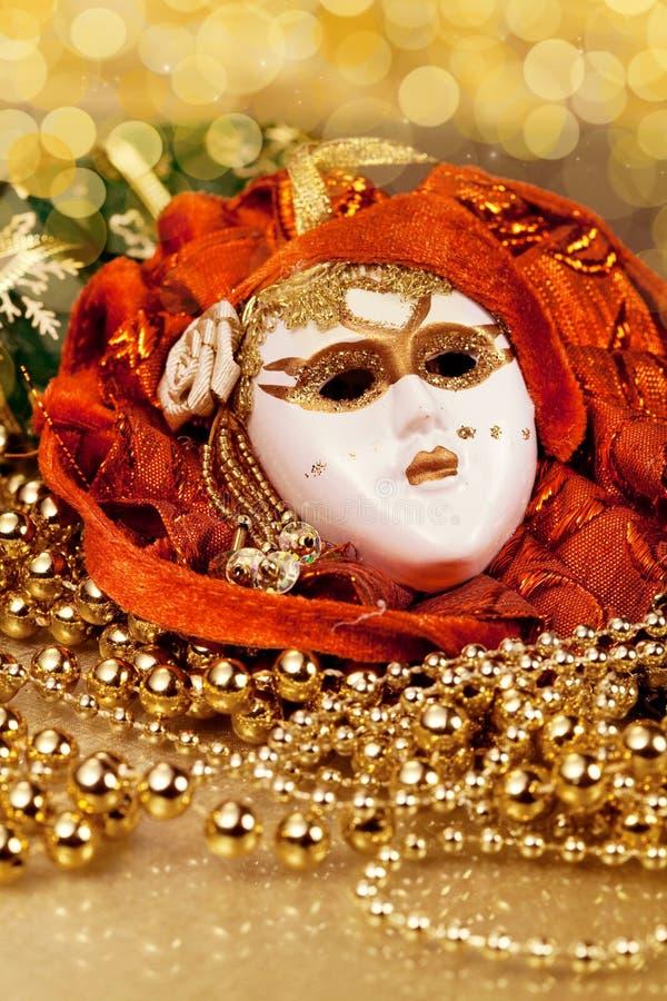 Máscara veneciana de la decoración de la Navidad imagen de archivo libre de regalías