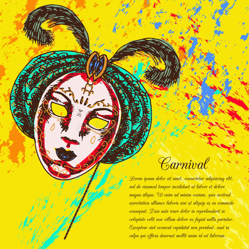 Máscara veneciana del carnaval stock de ilustración