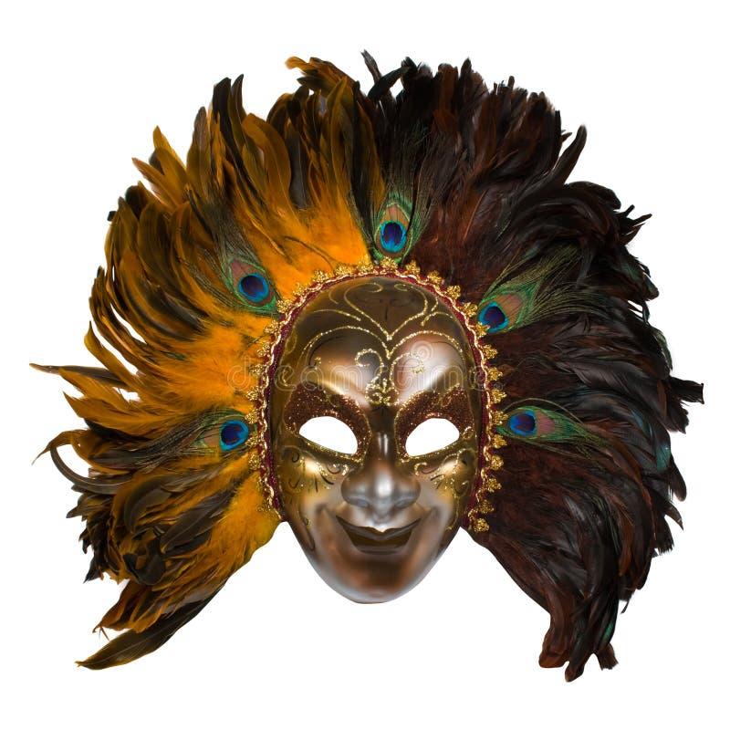 Máscara veneciana del carnaval con las plumas del pavo real imágenes de archivo libres de regalías