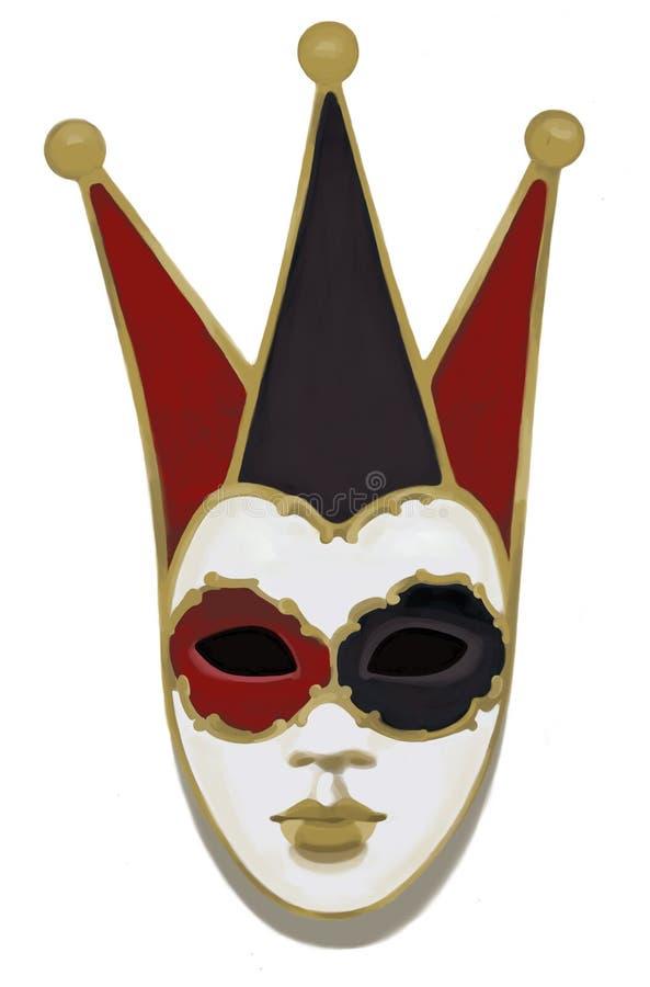 Máscara veneciana del carnaval, dibujo, ejemplo stock de ilustración