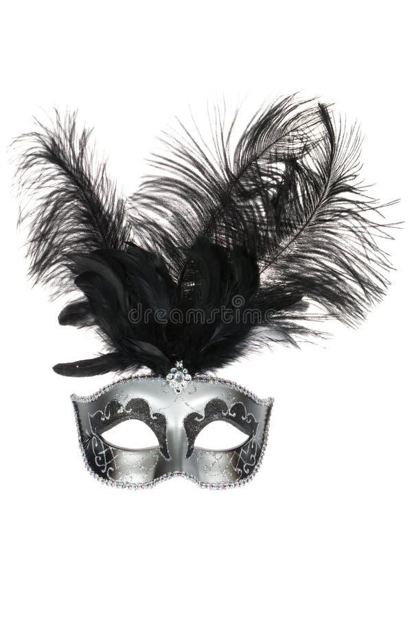 Máscara Venetian de prata preta do carnaval foto de stock
