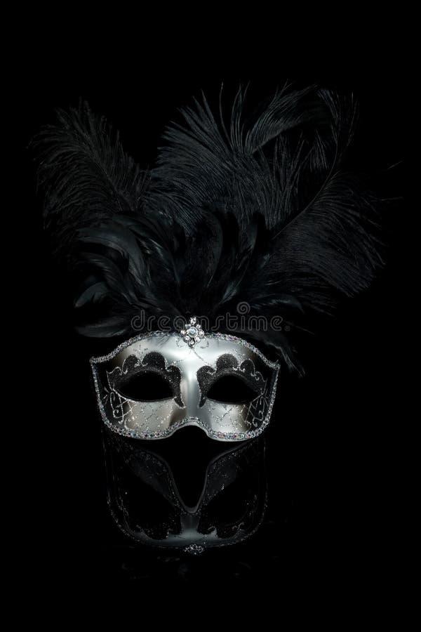 Máscara Venetian de prata preta do carnaval imagem de stock