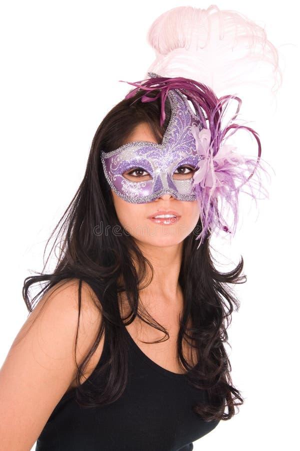 Máscara Venetian desgastando de Latina. foto de stock