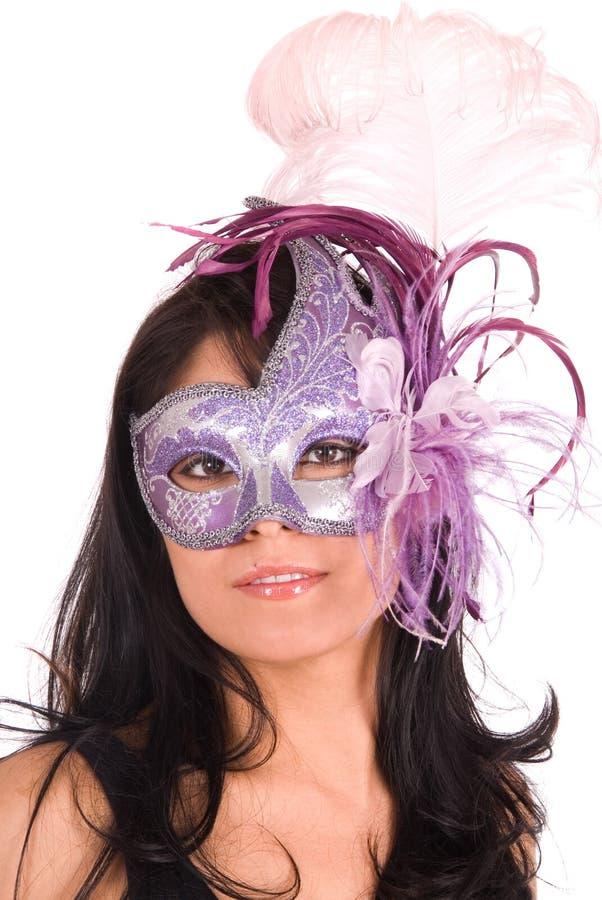 Máscara Venetian desgastando do Brunette fotos de stock