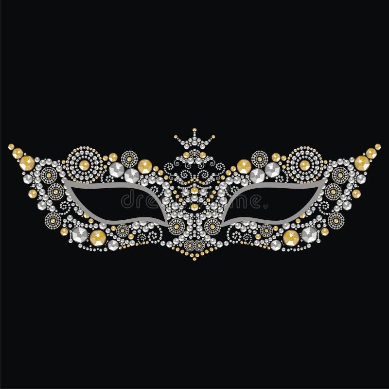 Máscara venetian do carnaval do vintage bonito com as pedras preciosas da prata e do ouro ilustração do vetor