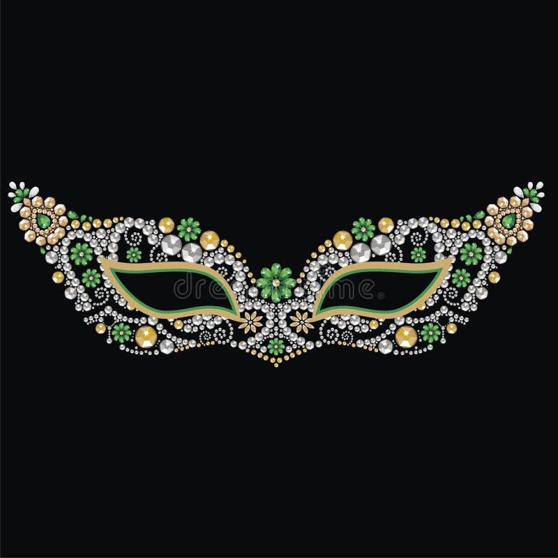 Máscara venetian do carnaval do vintage bonito com as pedras preciosas da prata, da esmeralda e do ouro ilustração stock