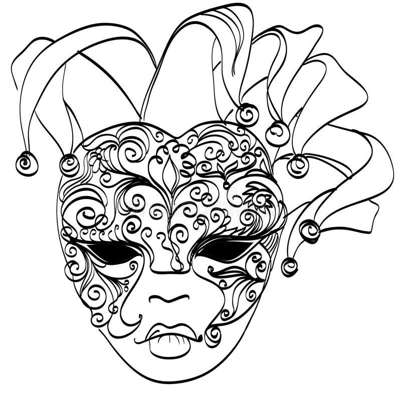 Máscara venetian do esboço do vetor ilustração do vetor