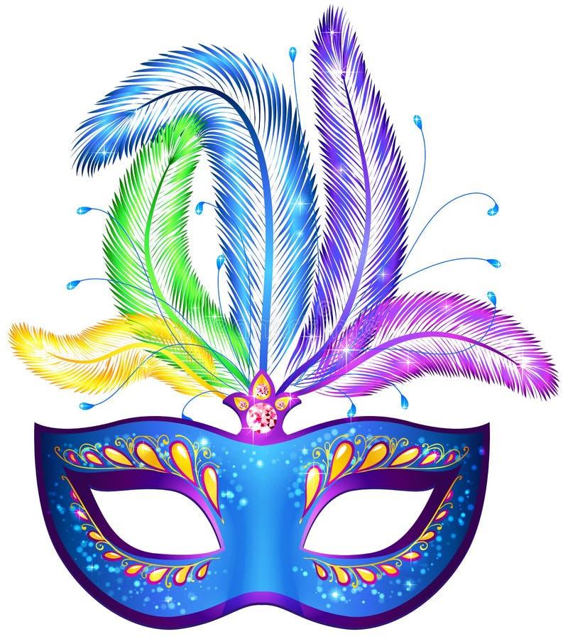 Máscara venitian del carnaval del vector con las plumas stock de ilustración
