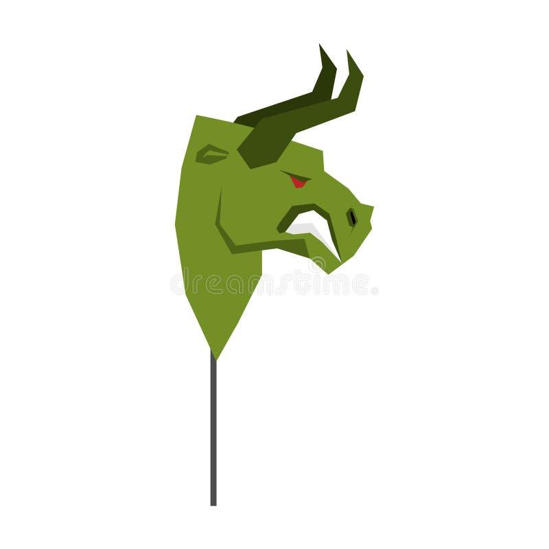 Máscara verde do comerciante de Bull jogador da guisa na bolsa de valores ilustração stock