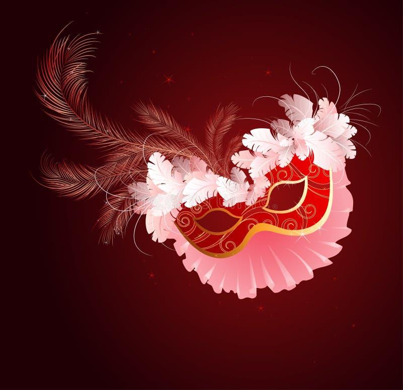 Máscara vermelha luxuoso com um véu ilustração stock
