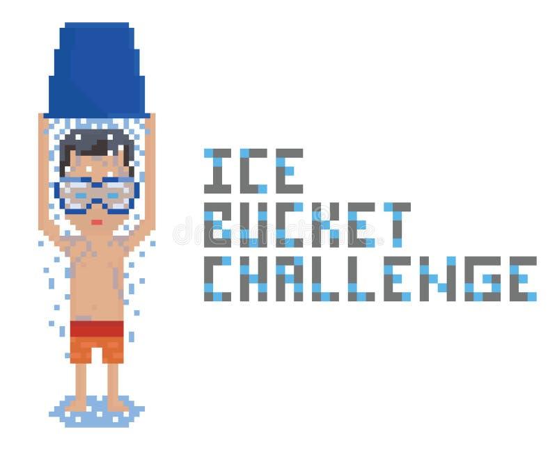 Máscara vestindo da natação da pessoa em topless da arte do pixel e ilustração royalty free