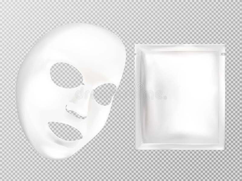 Máscara y bolsita cosméticas faciales blancas del vector ilustración del vector