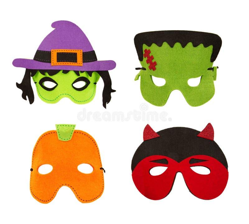 Máscaraes protectoras de feltro de Halloween isoladas no branco fotos de stock royalty free