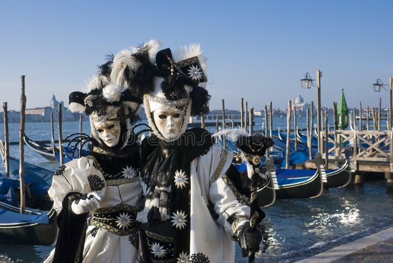 Máscaras blancas de Venitian foto de archivo