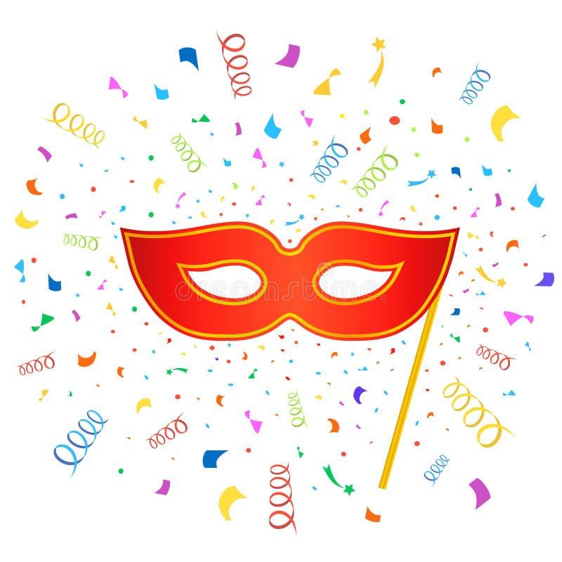 Máscaras brillantes del carnaval con confeti en blanco ilustración del vector