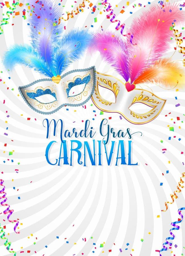 Máscaras coloridas do carnaval com molde do cartaz de Mardi Gras do vetor das penas com confetes e serpentina no fundo branco ilustração do vetor